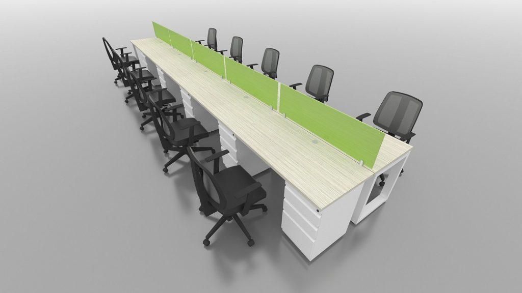 Isla recta 10 puestos escritorios