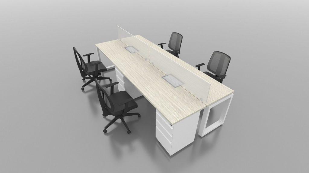 Isla recta 4 puestos escritorios rectos
