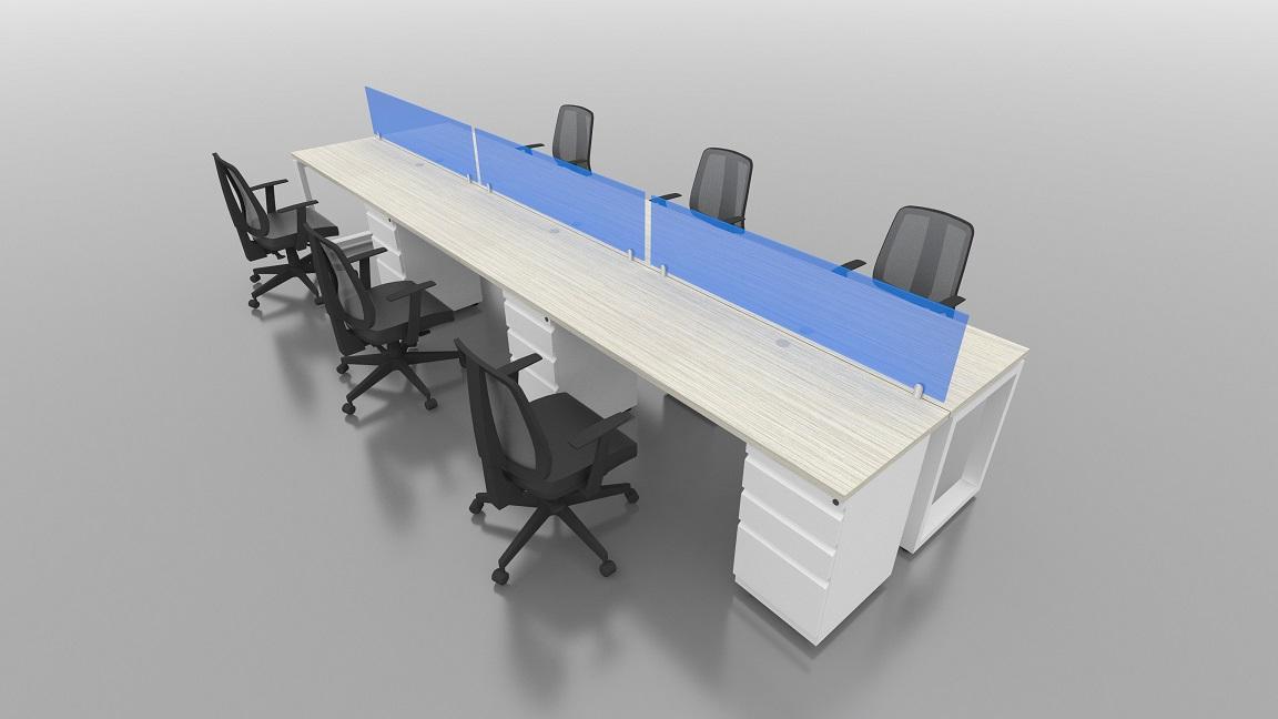 Isla recta 6 puestos escritorios rectos