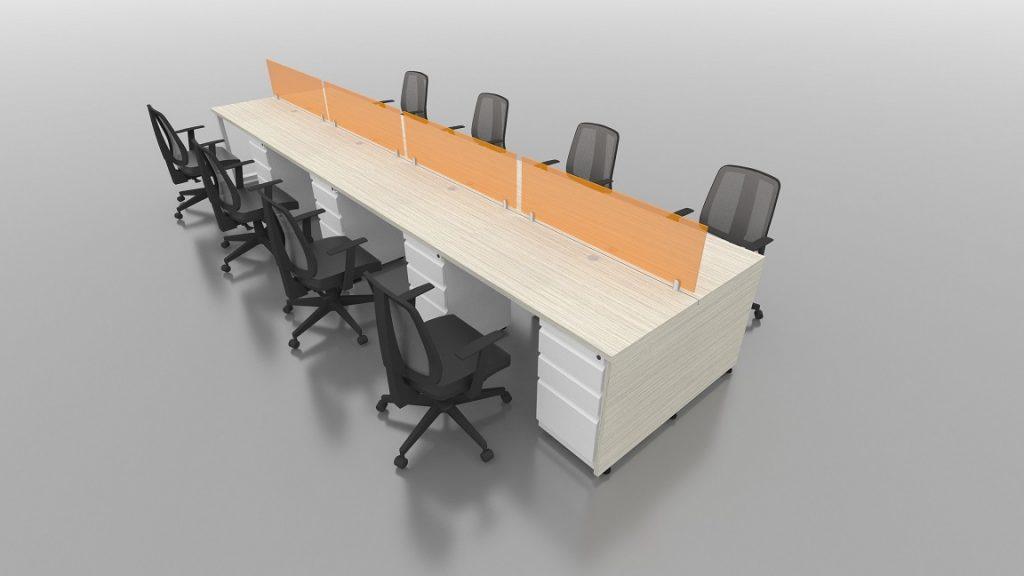 Isla Recta 8 puestos escritorios